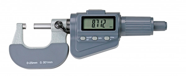 Digital-Bügelmessschraube 0 - 25 mm, mit Friktionsratsche, DIN 863