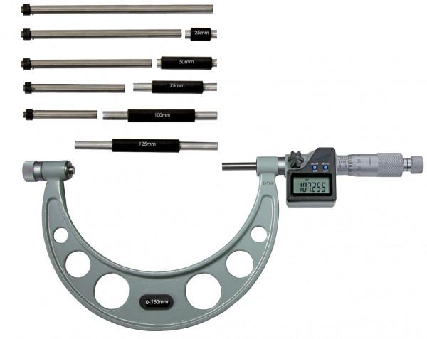 Digital-Bügelmessschrauben 0 - 150 mm, mit auswechselbaren Ambossen