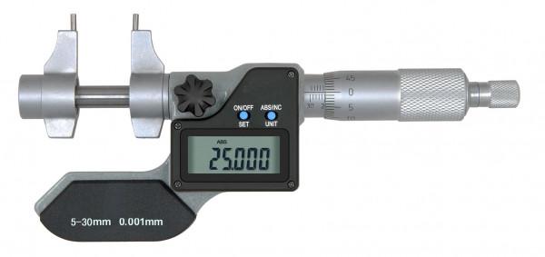 Digitale Innen-Messschraube 5 - 30 mm mit gewölbten Messflächen