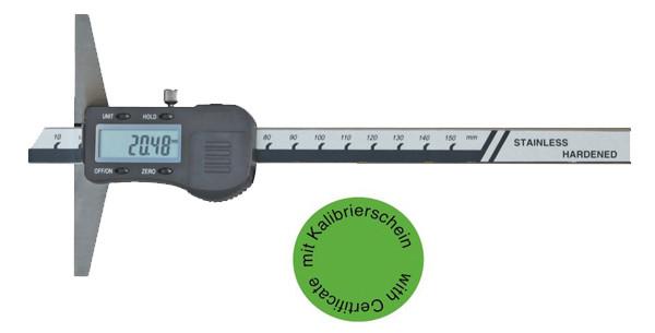 Digital Tiefenmessschieber 0-200 mm  DIN 862, 3 V,  inkl. Kalibrierung