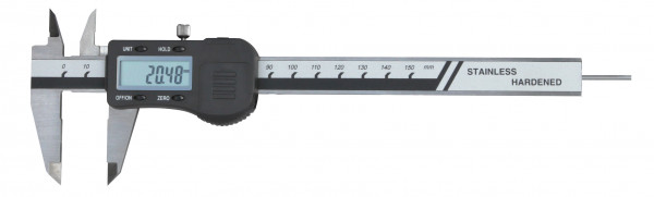 Digital-Taschen-Messschieber, 150 mm, mit rundem Tiefenmaß, 3 V, DIN 862