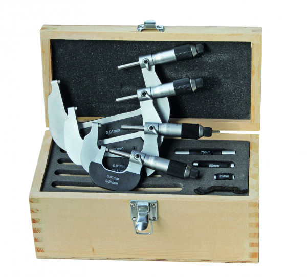 Bügelmessschraubensatz 0 - 150 mm, mit Friktionsratsche, DIN 863