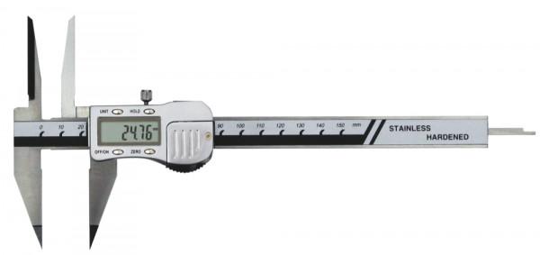 Digital-Messschieber, 150 mm, mit spitzem Schnabel und langen Spitzen, 3 V