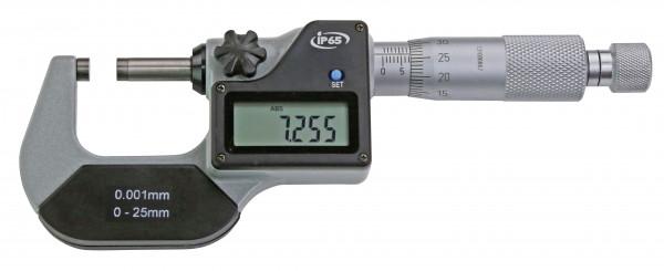 Digital-Bügelmessschraube 0 - 25 mm, IP 65, DIN 863, Anzeige nur mm