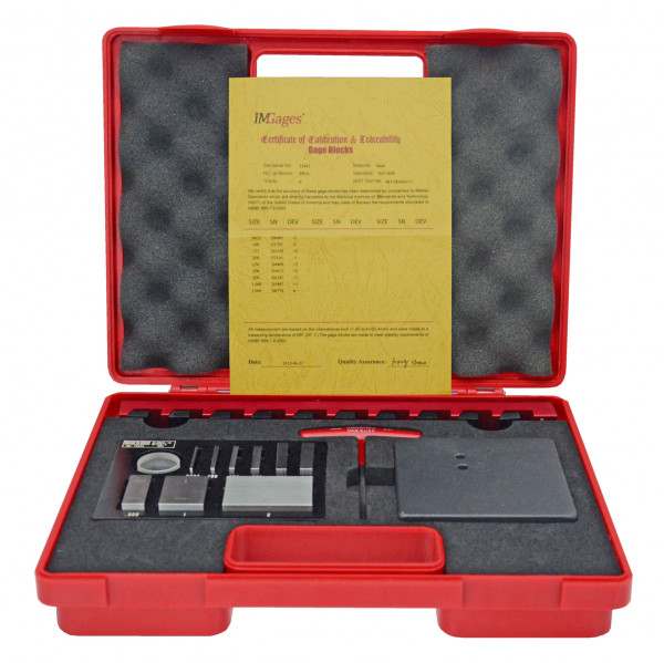 Gauge block set for checking micrometers with holder
