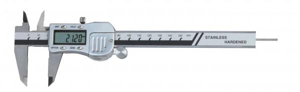 Digital-Taschen-Messschieber, 150 mm, mit rundem Tiefenmaß, 3 V, Metallgehäuse, DIN 862